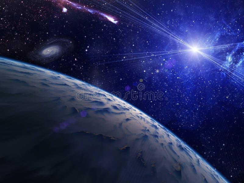 Planeta con la estrella brillante. libre illustration