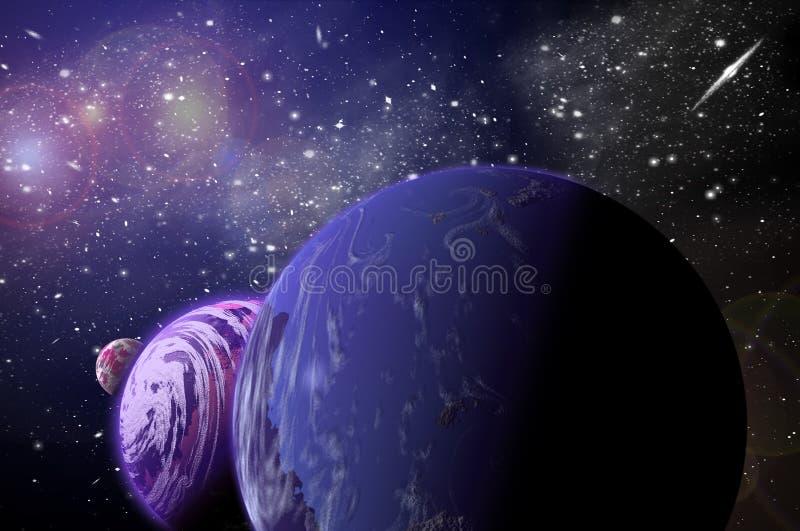 planeta 3D no espa?o no c?u da estrela do flash imagem de stock
