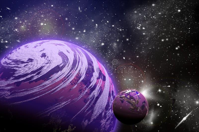 planeta 3D no espa?o no c?u da estrela do flash fotos de stock