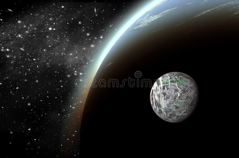 planeta 3D no espa?o no c?u da estrela do flash imagens de stock