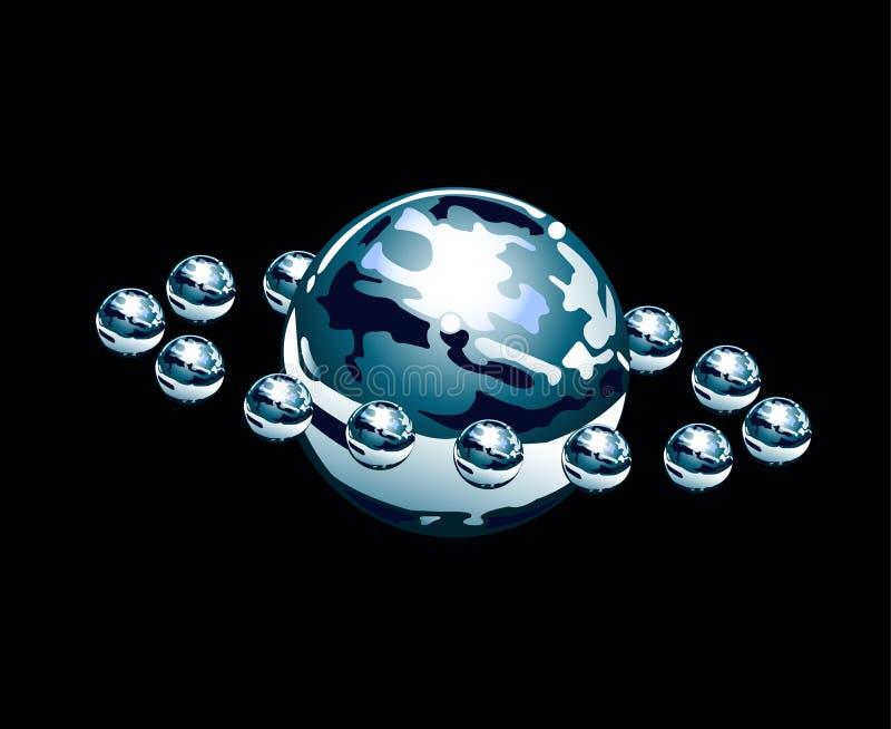 Planeta da água com satélites ilustração stock