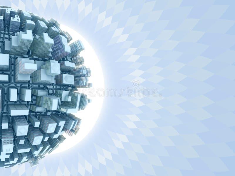 planeta da cidade 3d ilustração stock