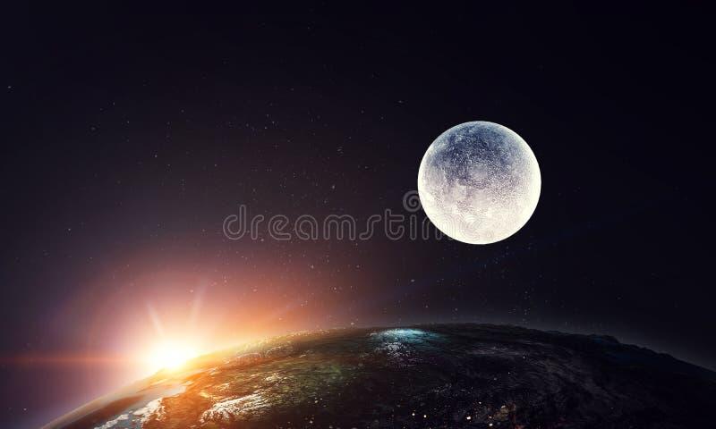 Planeta da lua e da terra, vista do espaço ilustração stock