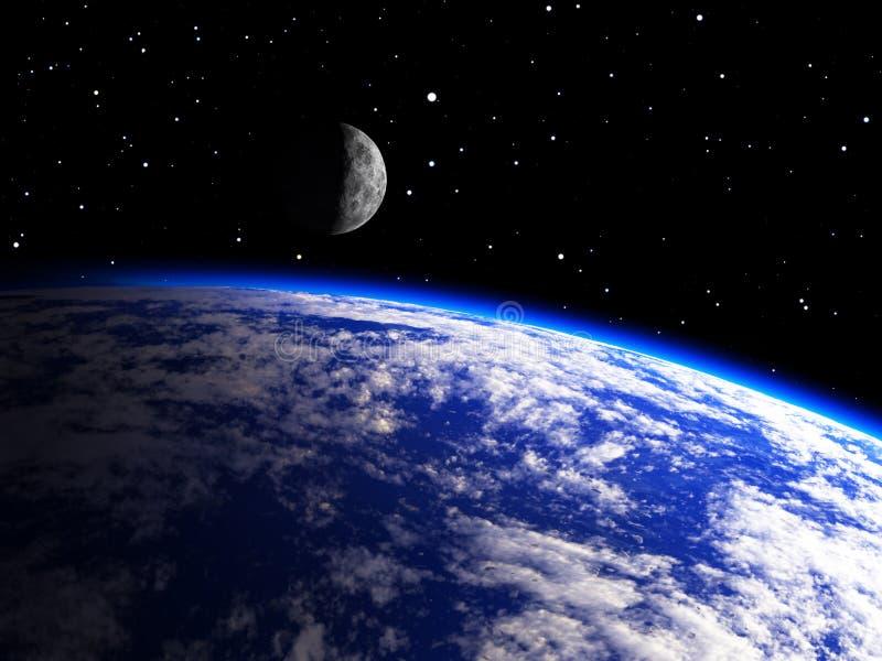 Planeta da terra com uma lua ilustração do vetor