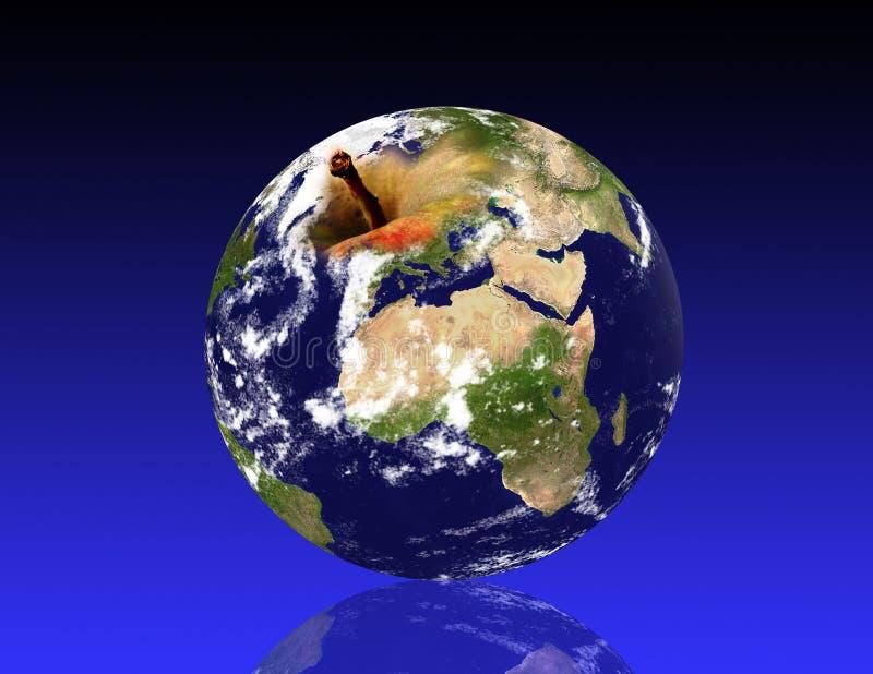 Planeta da terra, como uma maçã ilustração do vetor