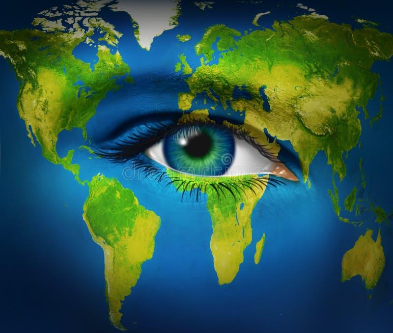 Planeta da terra do olho humano ilustração royalty free