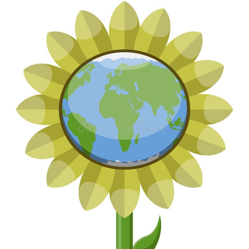Planeta da terra em um girassol ilustração royalty free