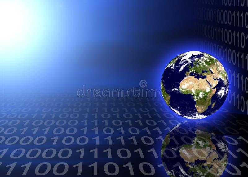 Planeta da terra no código binário ilustração do vetor
