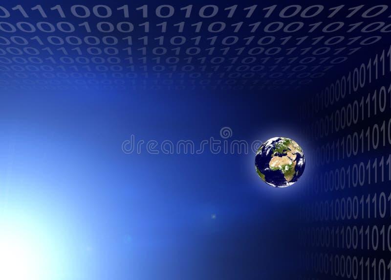 Planeta da terra no código binário ilustração royalty free