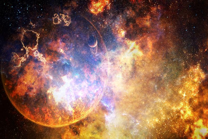 Planeta de explosão abstrato artístico em um fundo brilhante colorido da galáxia foto de stock