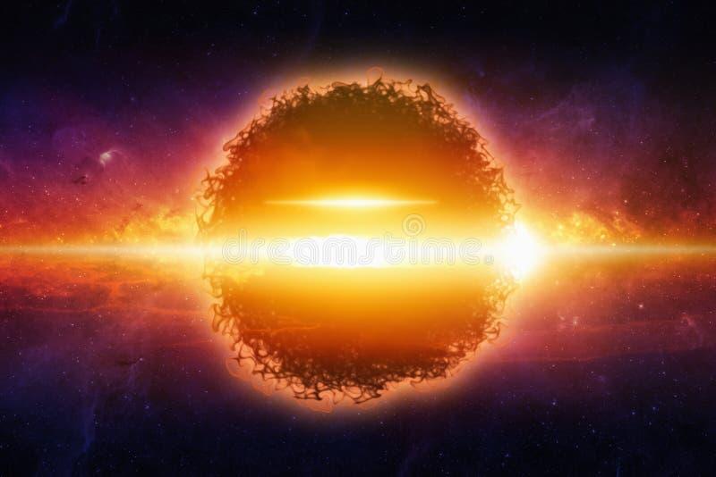 Planeta de explosão no espaço ilustração royalty free