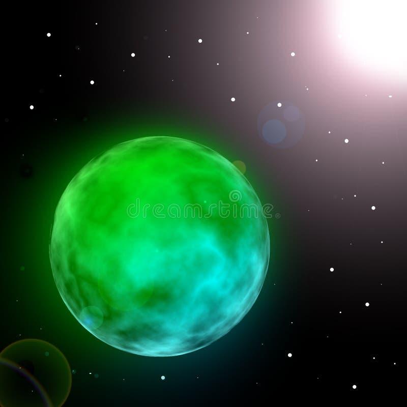 Planeta de incandescência verde no universo com sol ilustração royalty free