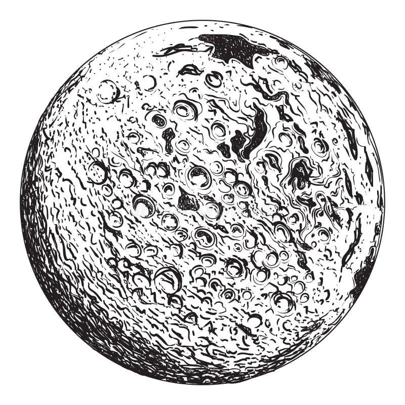 Planeta de la Luna Llena con los cráteres lunares ilustración del vector