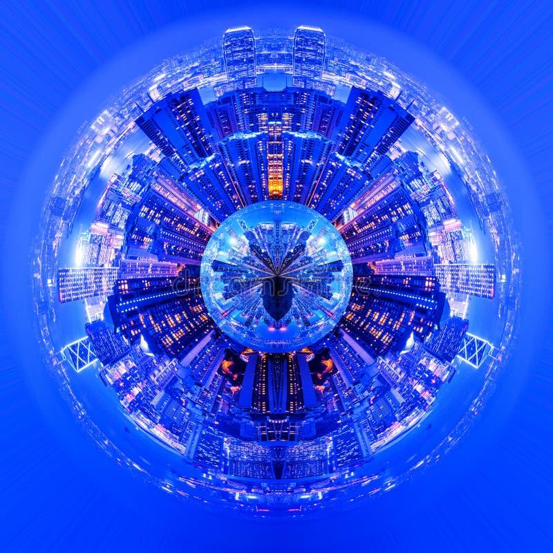 Planeta de la noche de la ciudad foto de archivo