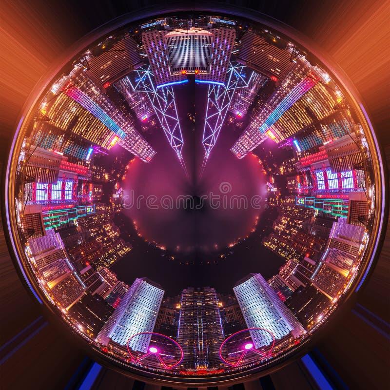 Planeta de la noche de la ciudad fotografía de archivo