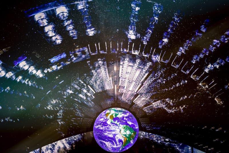 Planeta de la tierra con los proyectores que encienden la llamarada stock de ilustración