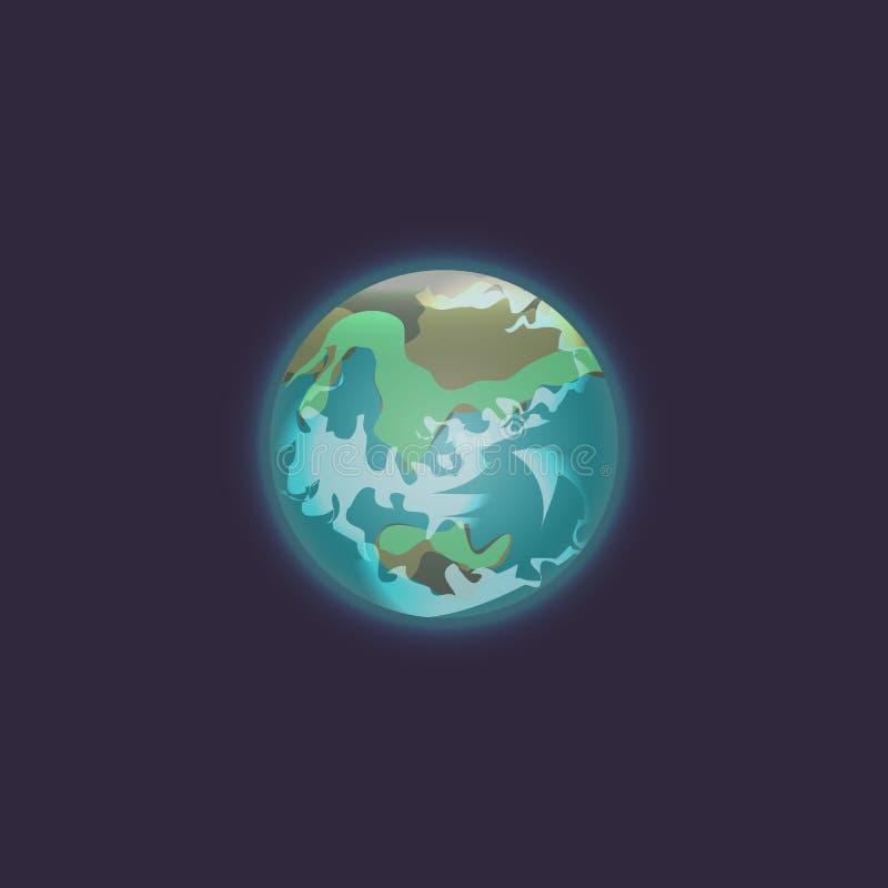 Planeta de la tierra en icono del espacio profundo ilustración del vector