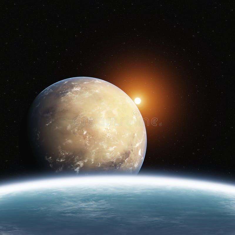 Planeta de levantamiento del desierto con tierra y Sun ilustración del vector