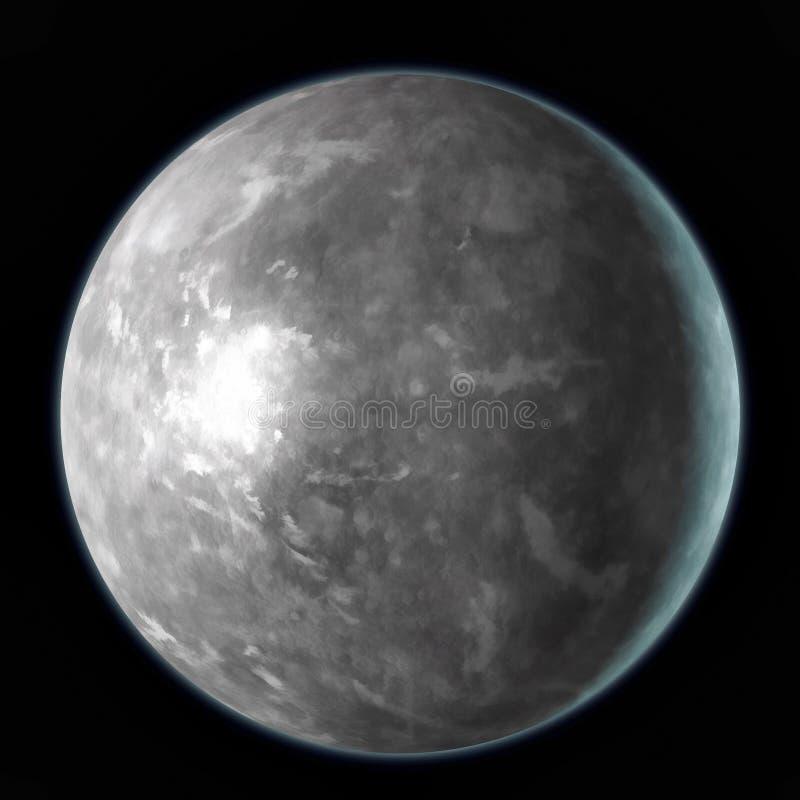 Planeta de Mercury isolado no fundo preto Aquarela, ilustração 3D ilustração do vetor
