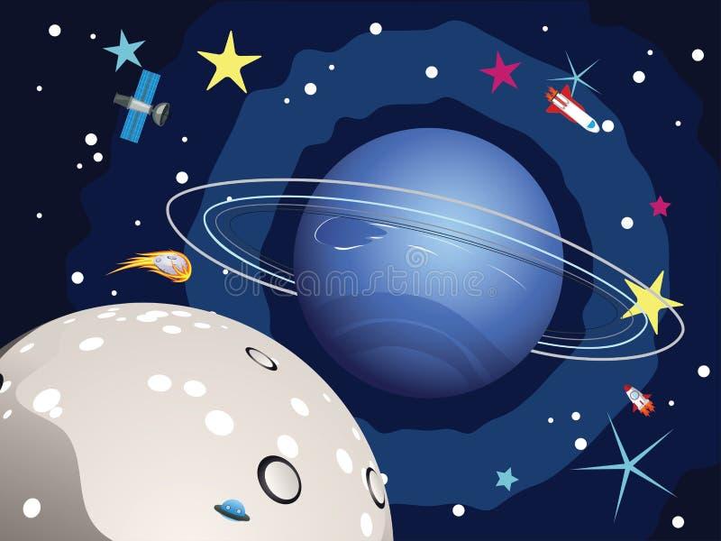 Planeta de Neptuno en el espacio stock de ilustración