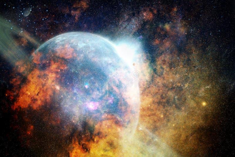 Planeta de niebla que brilla intensamente del extracto artístico en un fondo brillante colorido de la galaxia imagenes de archivo