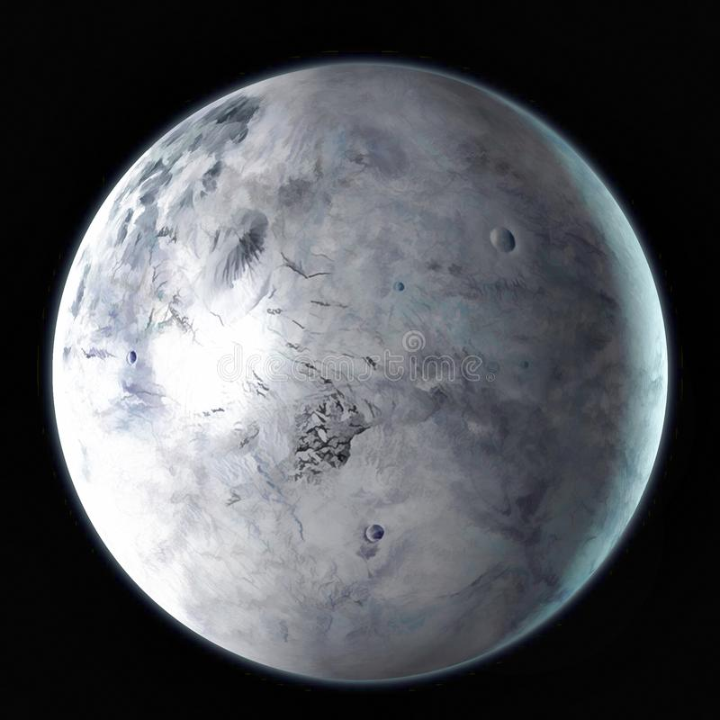 Planeta del enano de Eris en el espacio exterior Acuarela, ejemplo 3D stock de ilustración