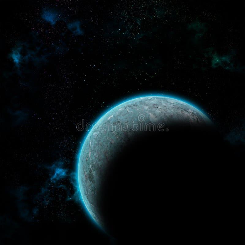 Planeta del espacio en galaxia ilustración del vector