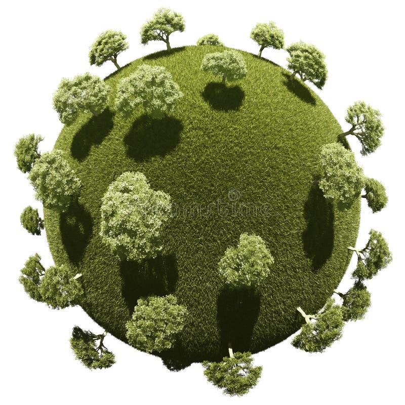Planeta diminuto com vegetação do parque do bosque ilustração stock