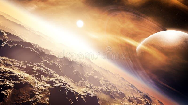 Planeta distante de la luna del desierto ilustración del vector