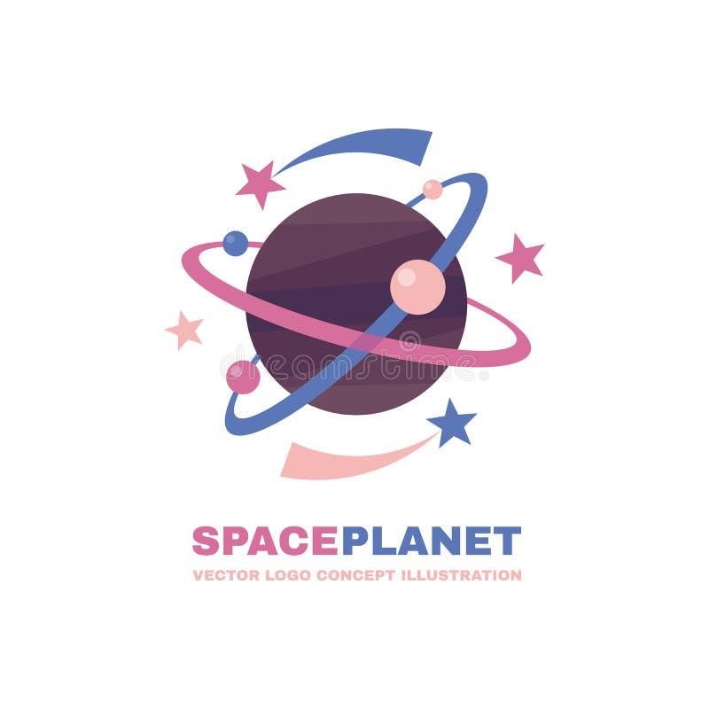 Planeta do espaço - conceito do molde do logotipo do vetor Ilustração criativa do sumário do sistema solar Sinal da galáxia Eleme ilustração royalty free