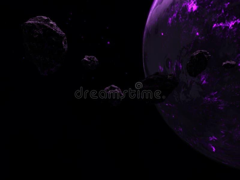 Planeta do espaço, fundo, roxo, cosmos ilustração stock