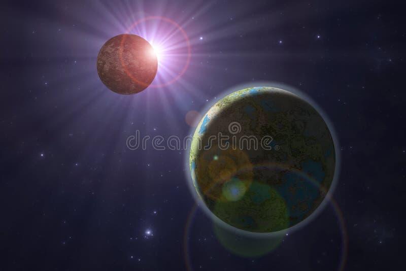 Planeta do estrangeiro de espaço profundo ilustração do vetor