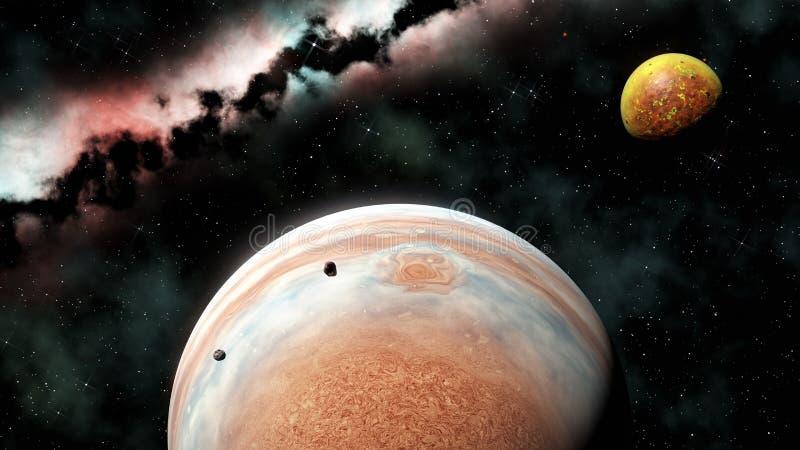 Planeta do gigante de gás com luas, 3d para render ilustração royalty free