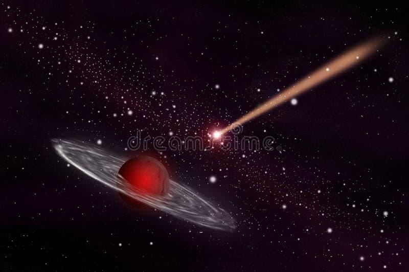 Planeta do meteoro e do gás ilustração royalty free