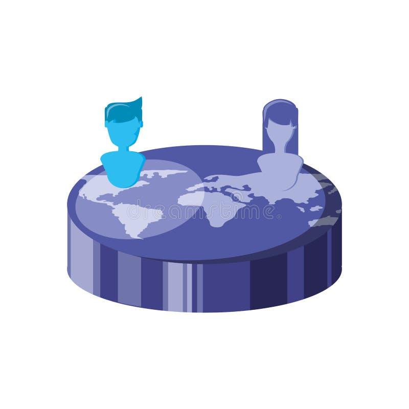 Planeta do mundo com silhueta dos povos ilustração do vetor
