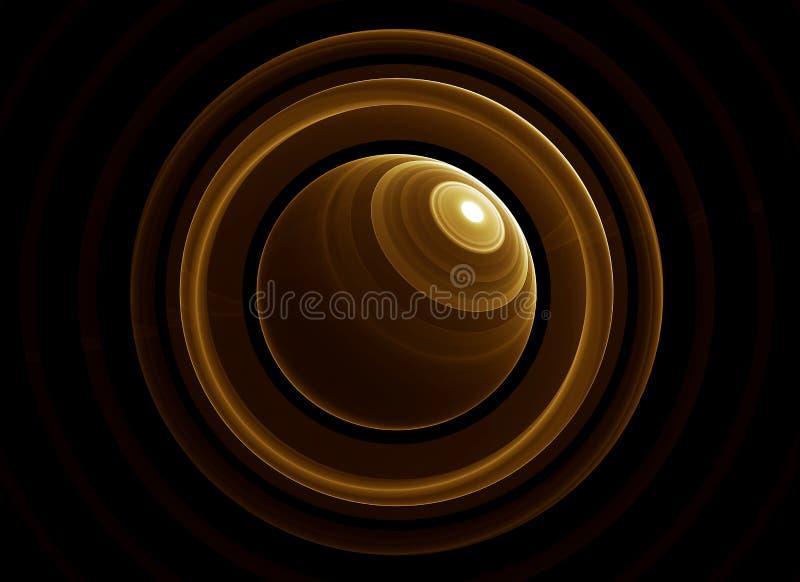 Planeta e anéis dourados ilustração stock