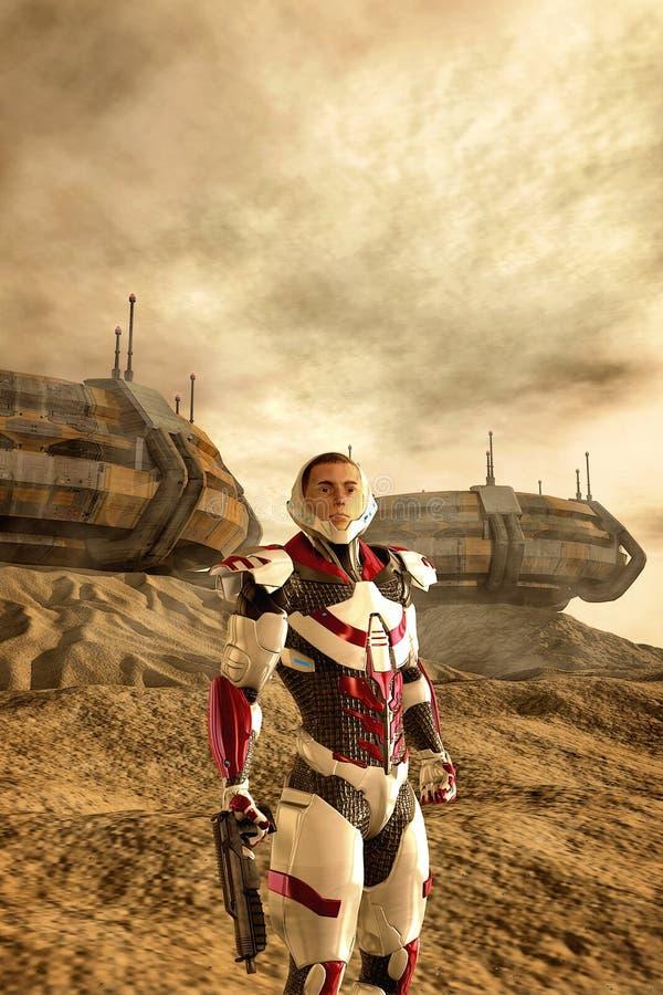 Planeta e colônia estrangeiros com soldado futurista ilustração stock