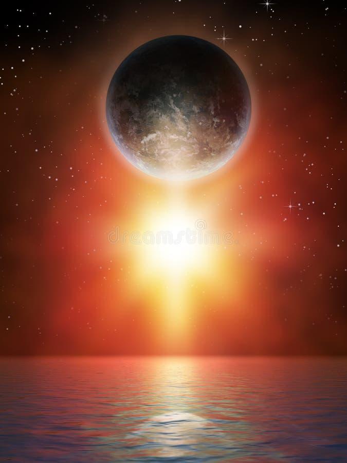 Planeta e estrela ilustração stock