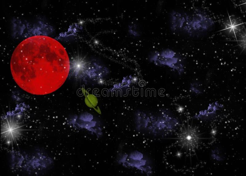 Planeta e estrelas ilustração stock