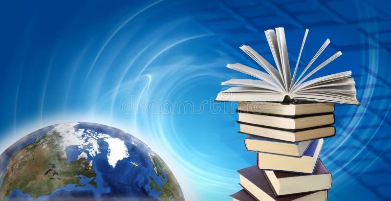 planeta e livros no fundo abstrato foto de stock royalty free