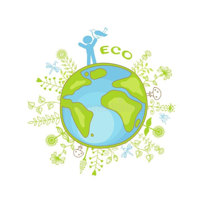 Planeta e povos da ecologia ilustração do vetor