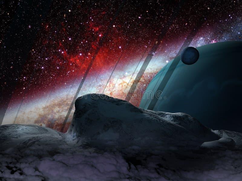 Planeta e satélites Extrasolar ilustração royalty free