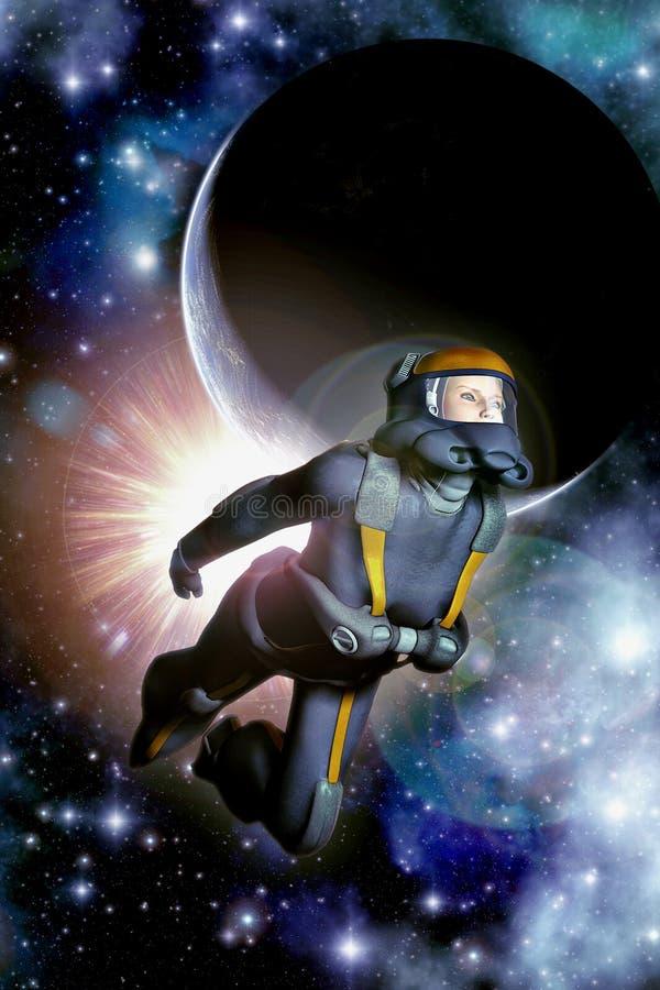 Planeta e sol com menina do astronauta ilustração royalty free