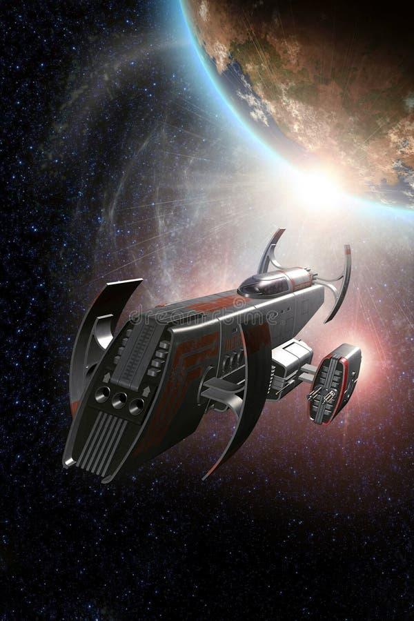 Planeta e sol do lutador da nave espacial ilustração do vetor