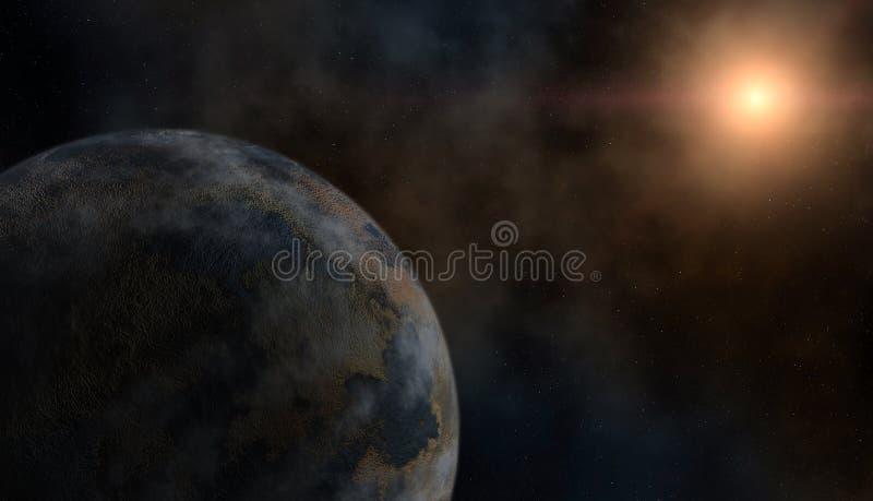 Planeta e uma estrela imagem de stock