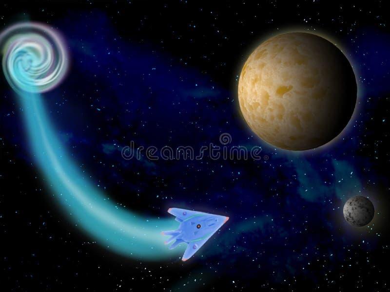 Planeta en espacio alrededor del ejemplo brillante de las estrellas 3d ilustración del vector