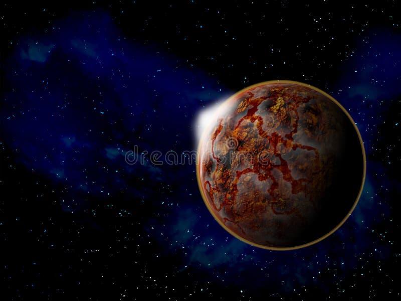 Planeta en espacio alrededor del ejemplo brillante de las estrellas 3d stock de ilustración
