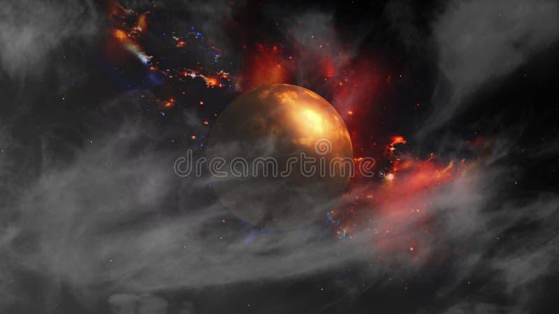 Planeta en galaxia, nebulosa hermosa y estrellas en espacio profundo ilustración del vector