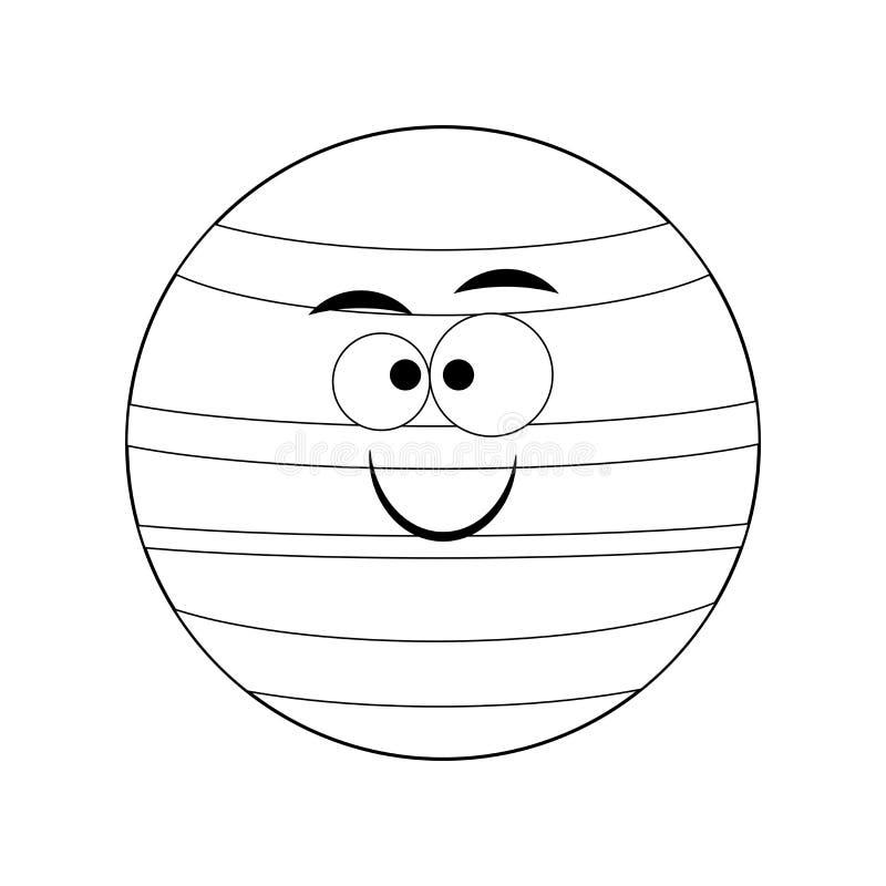 Planeta engraçado incolor de Netuno dos desenhos animados Ilustração do vetor C ilustração royalty free