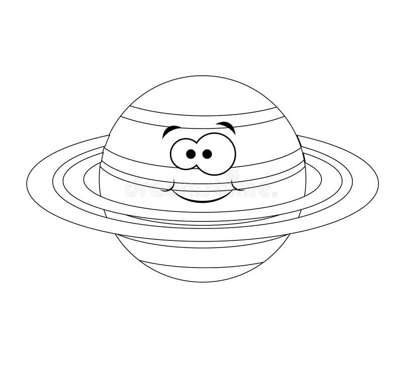 Planeta engraçado incolor de Saturno dos desenhos animados Ilustração do vetor coluna ilustração do vetor